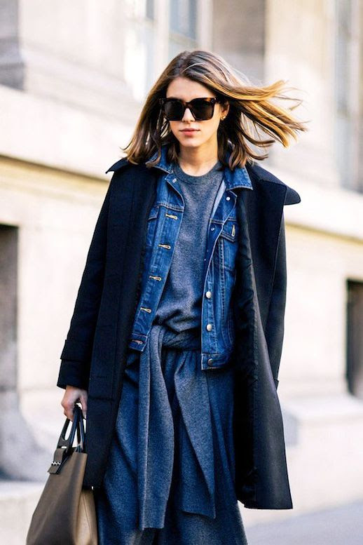 Le Fashion Blog Street Style Layered Spring Look Long Bob Oversized Sunglasses Thin Black Coat Denim Jacket Grey Tie Front Sweater Dress Via Shot By Gio