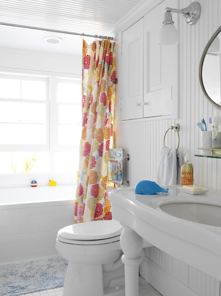 Inspired Corner Shower Curtain Rod In Bathroom Beach Style With