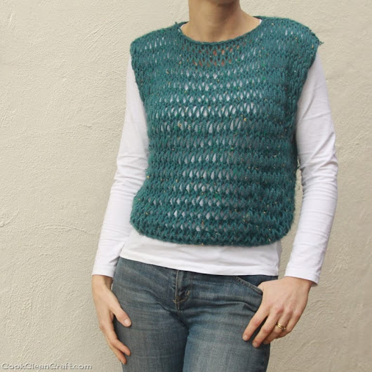 Quick and Easy Knitted Vest - Cook Clean Craft