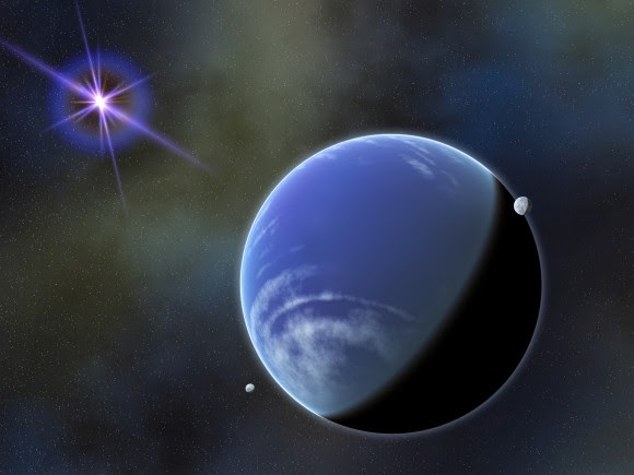 This artist's conception could resemble a planetary system in front of a background star. Image Credit: NASA Goddard Space Flight Center / Francis Reddy