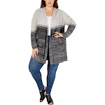 Style & Co. Womens Plus Ombre Hooded Cardigan Sweater Black 2X
