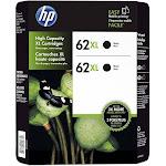 HP 62XL High Yield Original Ink Cartridge, Black (2 Pack, 600 Page Yield)