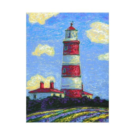 Pastel Lighthouse and Lavender Fields Canvas Print