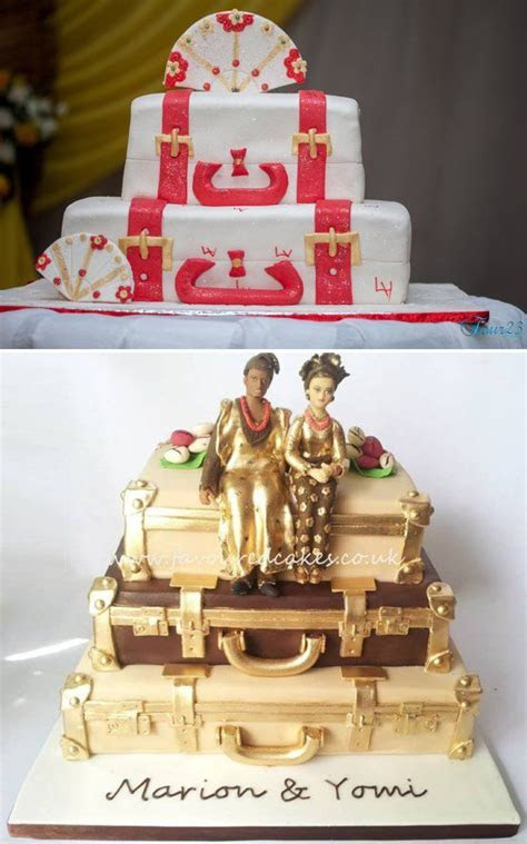 Stacked luggage cakes for traditional weddings in Nigeria