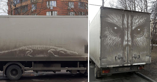 Animals Etched onto Dirty Cars by Illustrator Nikita Golubev