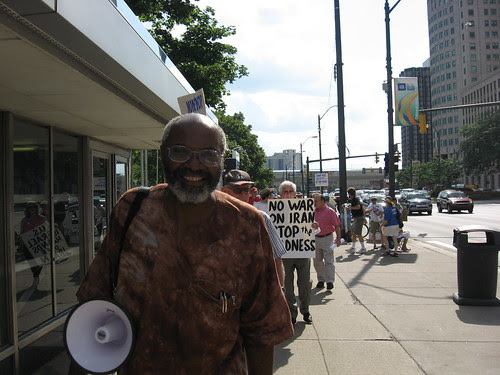 Abayomi Azikiwe, Editor of the Pan-African News Wire, covering the No War on Iran demonstration on Aug. 1, 2008 in downtown Detroit. The action coincided with protests in over 100 other cities. (Photo: Alan Pollock). by Pan-African News Wire File Photos