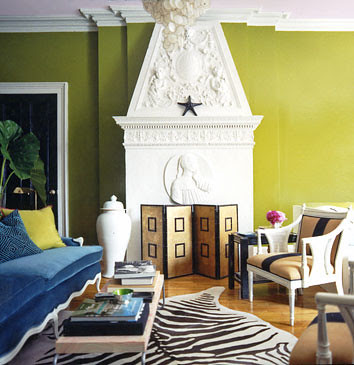 Bright, modern living room: Acid green + white + brown + blue ...