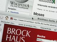 A screenshot of the Wikipedia and Brockhaus Websites