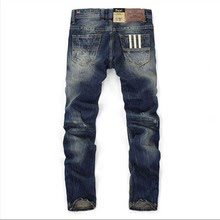 Men Straight Dark Blue Color Printed Ripped Jeans,100% Cotton