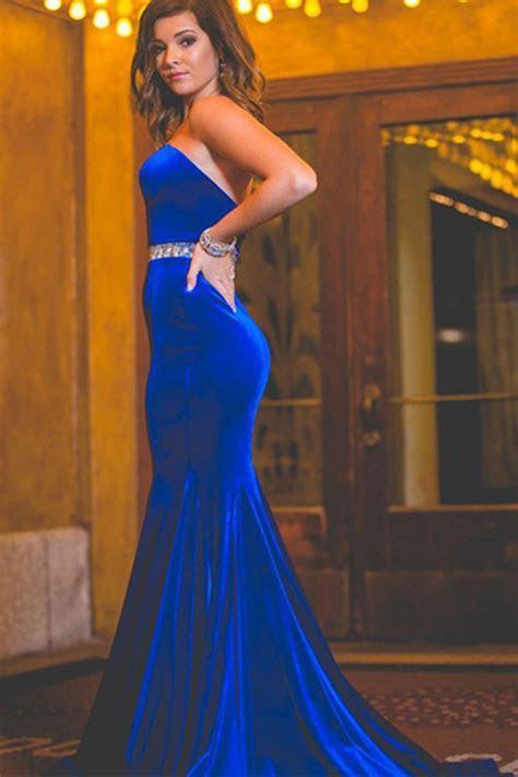 Royal blue velvet backless long sequins mermaid formal