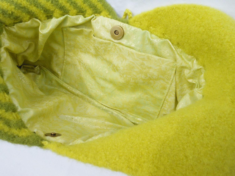 Lemon grass and Meadow green crochet felted wool bag