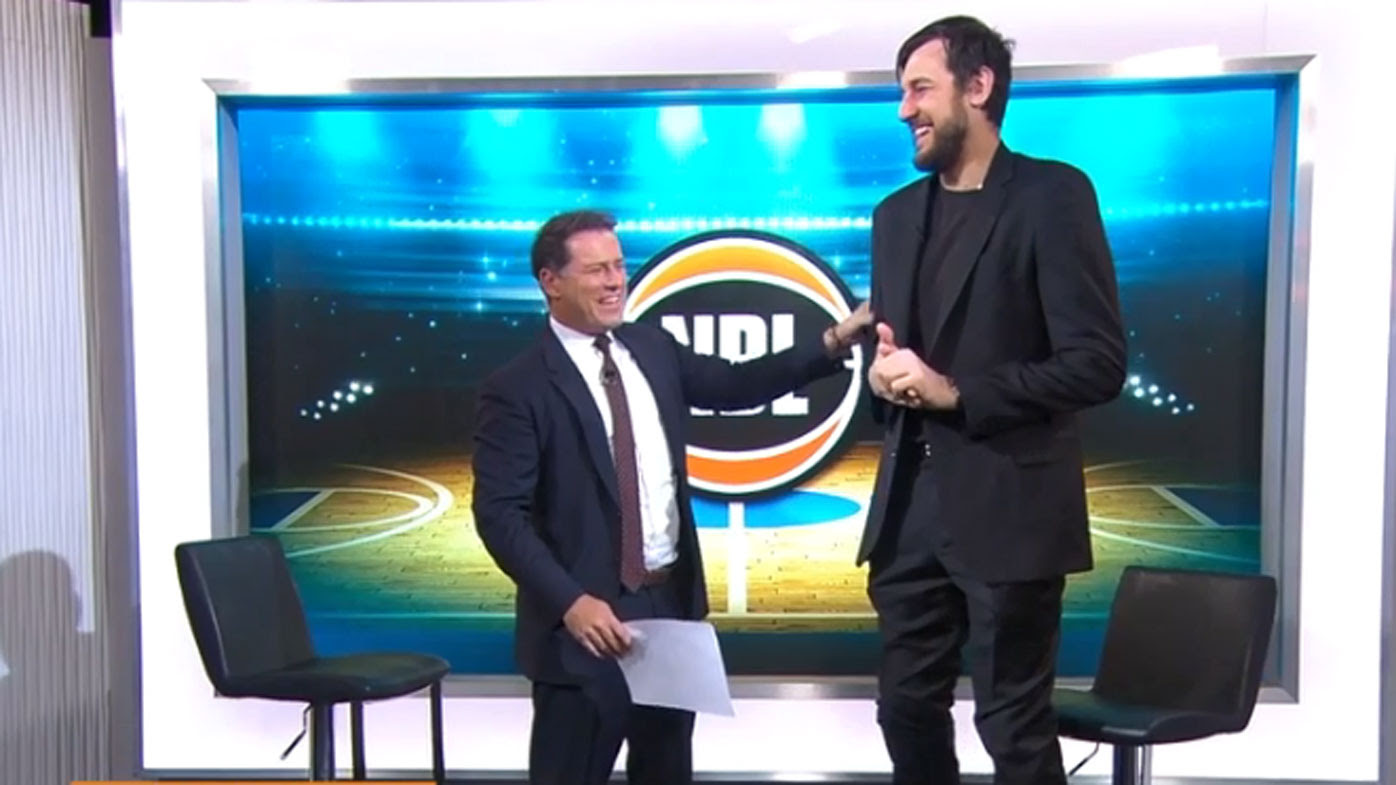 Today host Karl Stefanovic gets handsy with large human Andrew Bogut