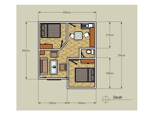 Denah Rumah Minimalis Type 36 Modern - Desain Rumah ...