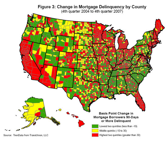 Change on mortgage delinquency by county