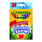 Crayola Most Washable Crayons Assorted Colors, Non-Toxic, 24 Ea