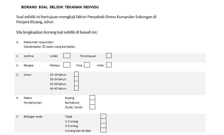Contoh Borang Soal Selidik Masalah Disiplin Pelajar Cute766