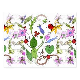 Floral Designed Postcard