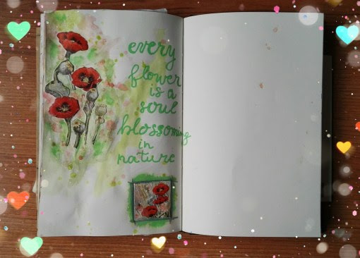 The Quoted pages – Every flower is a soul blossoming in nature – Mixed Media & Art Journaling with Love
