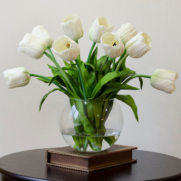 Real Touch White Tulips Arrangement \u2013 Flovery