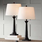 Dolbey Bronze Tapered Column Table Lamp Set of 2 - Style # 8M459