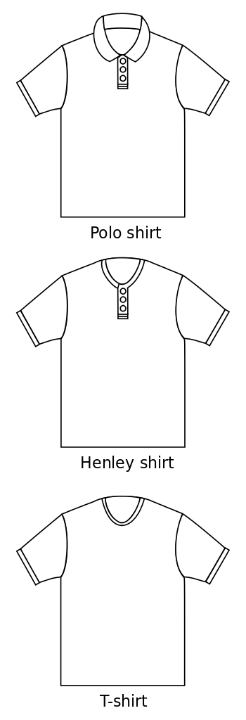 English: Basic pattern of a polo shirt, henley...