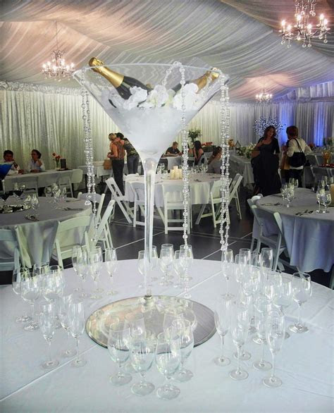 Wedding table centrepiece ideas. Large cocktail glass with