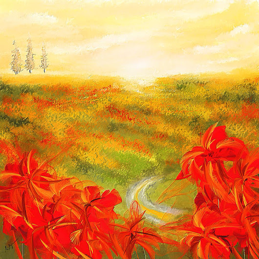 Towards The Brightness - Fields Of Poppies Painting by Lourry Legarde