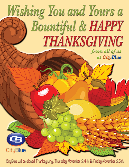 Happy Thanksgiving from CityBlue Technologies!