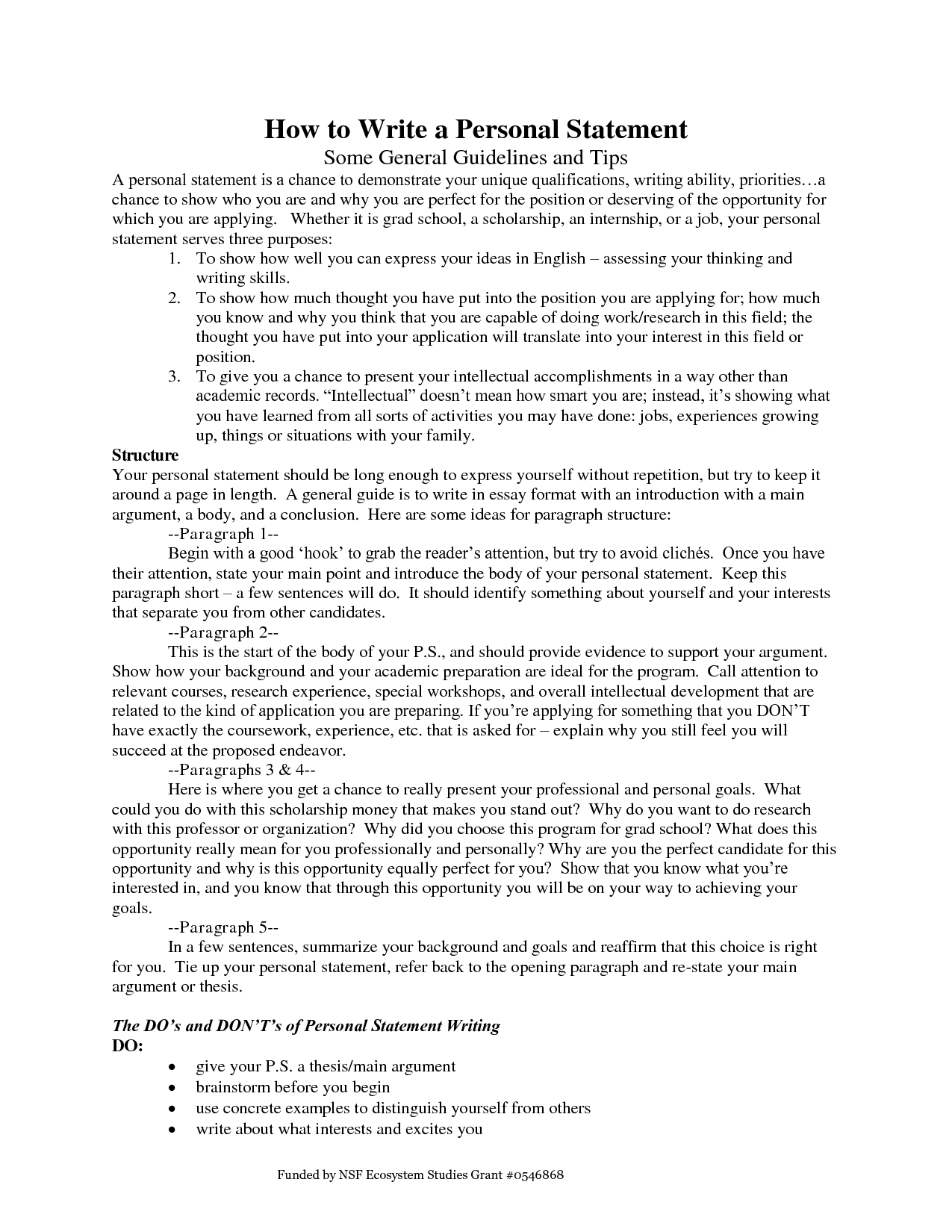 how to write a personal statement essay university