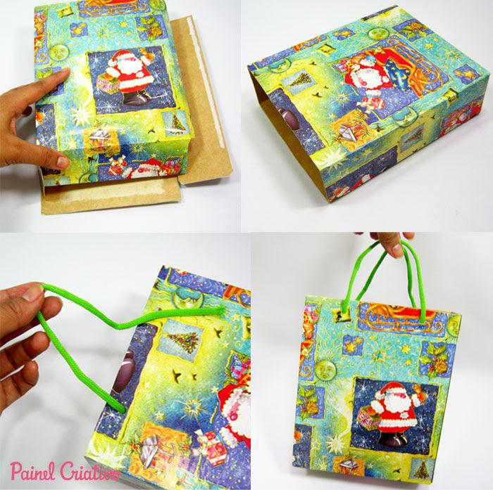 como fazer sacolinha presente natal reciclagem caixa cereal (3)