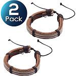 2 Pack Zodaca Men's Fashion Multi-Layer Braided Leather Bracelet - Brown/White