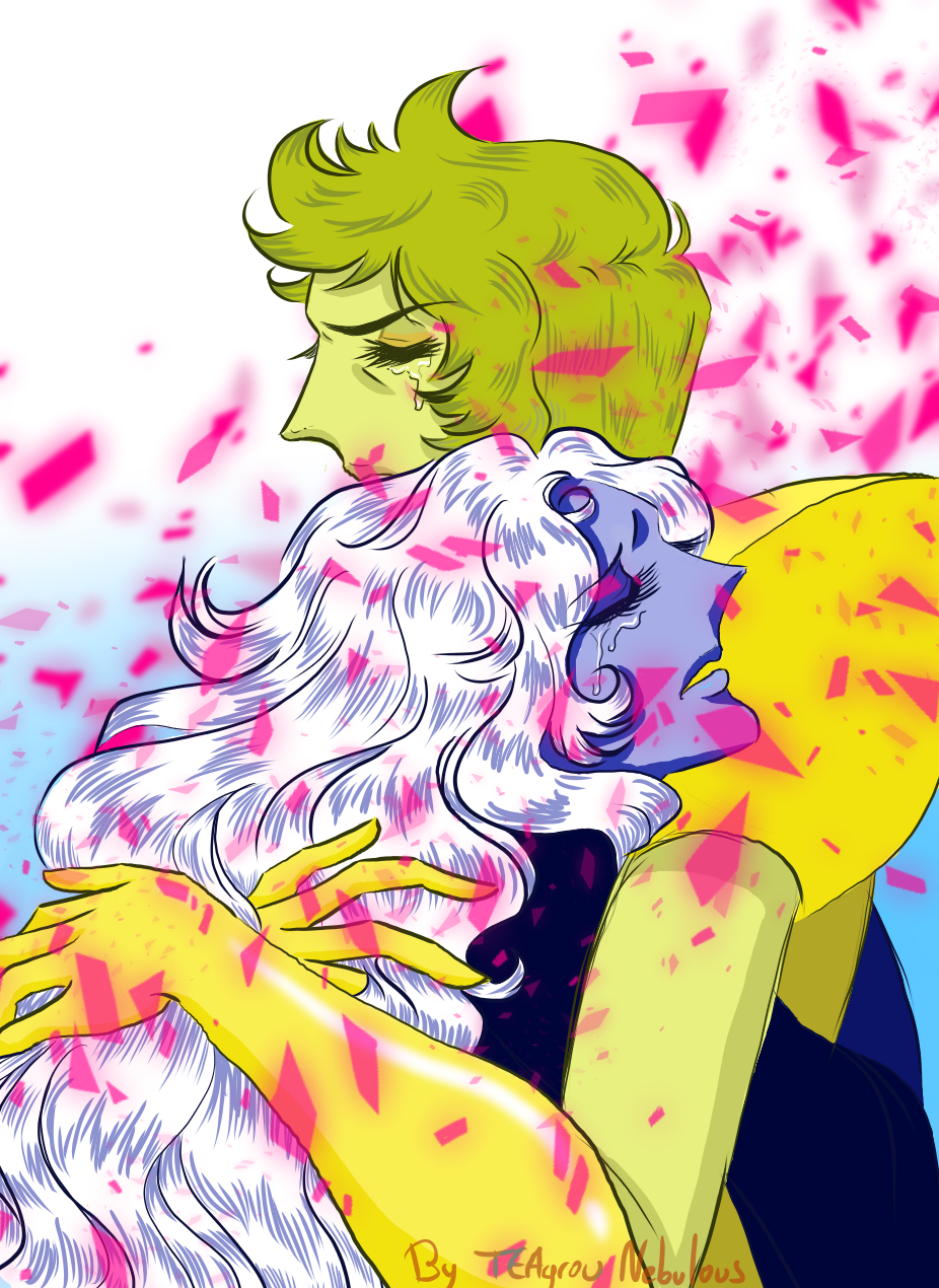 Here is my contribution of the day for the Steven Universe Fandom: A quick fan art of my fav' grieving diamond moms in a Rose of Versailles style 🧡 ( P.S.: playing with my new weir brushes was...