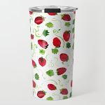 Strawberry Fields Travel Coffee Mug by The Paper Bluebird - 20 oz