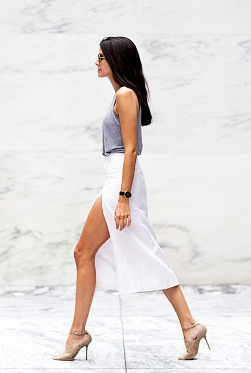Le Fashion Blog -- 2 Ways To Wear A White Thigh Slit Skirt -- Aviator Sunglasses, Grey Tank Top, Larsson & Jennings Watch, and Alex Wagner sandals -- Via Elle Magazine -- Natalie Matthews photo Le-Fashion-Blog-2-Ways-To-Wear-A-White-Thigh-Slit-Skirt-Tank-Alex-Wagner-Sandals-Via-Elle.jpg