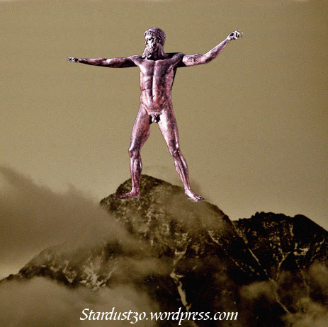 Αναπαράσταση του αγάλματος του Αθώος Διός στην κορυφή του όρους Άθως