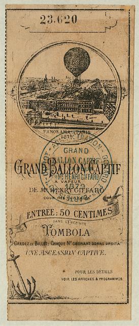 Grand ballon captif a vapeur de Mr. Henry Giffard, Cour des Tuileries ...