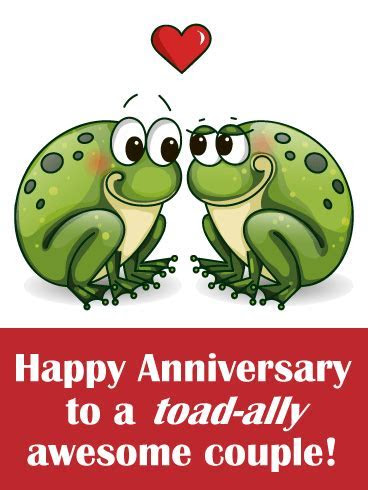 Two Loving Toad Funny Anniversary Card   Birthday