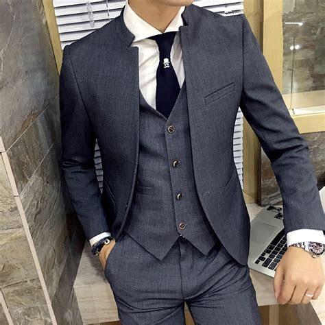 Classic Chinese Collar Men Suit 3PCS/Set Slim Fit Wedding