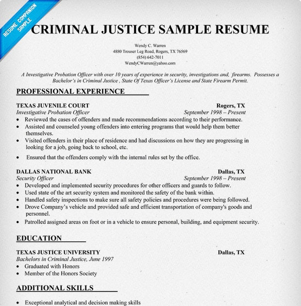 Criminal Justice Cover Letter: Resume Format: Resume Template Criminal Justice