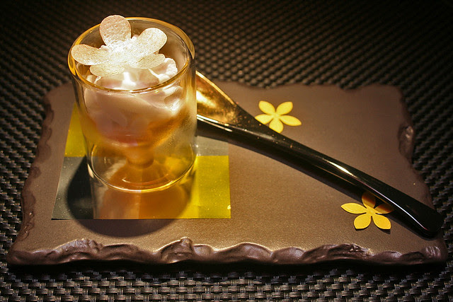 The beautifully named Le Parfum de Iles - smooth passion fruit, rum granite, light coconut foam