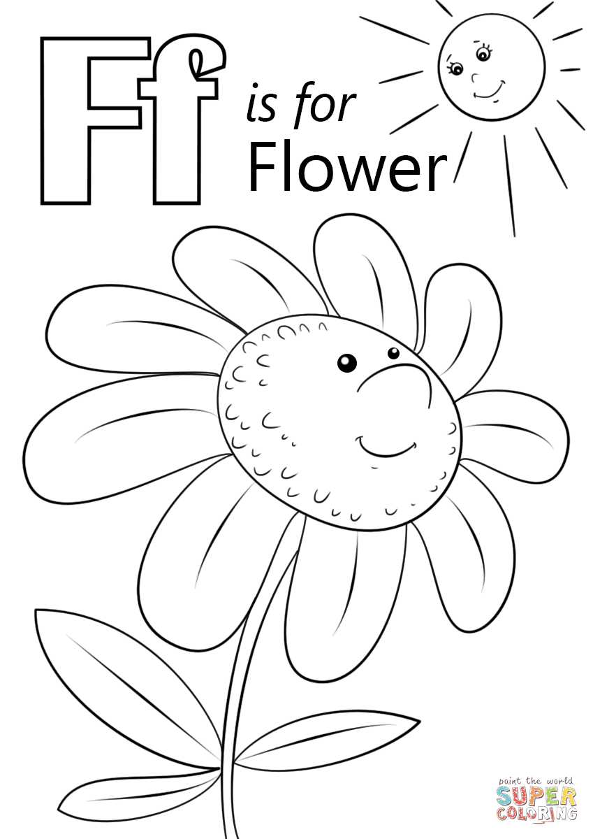 Letter F is for Flower coloring page Free Printable Coloring Pages