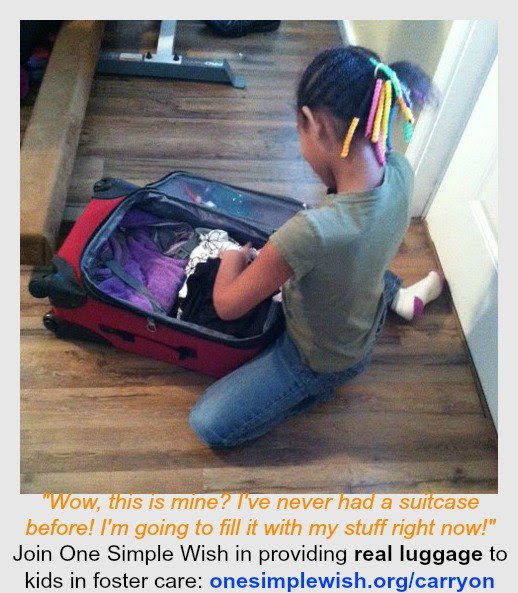 "One Simple Wish on Twitter: """"Wow,this is MINE?"" A little girl after getting her new luggage @travelerschoice  #fostercare """