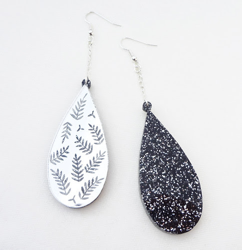 Silver Mirror Leaf Earrings