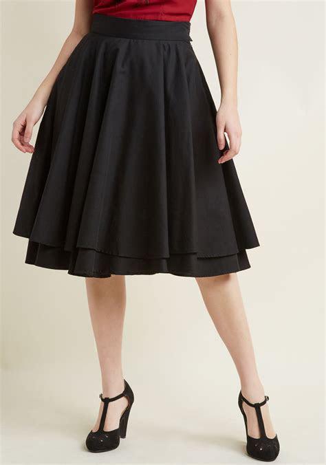 modcloth essential elegance midi skirt  black black