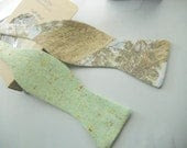 Seafoam Green Linen Tweed Bowtie with colour specks - HandsomeAndLace