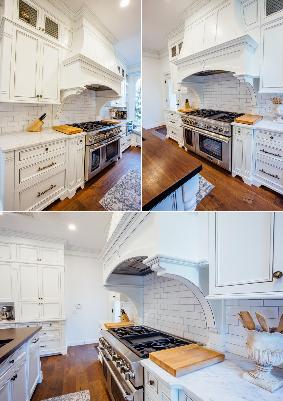 White Glazed Kitchen With Walnut Countertop