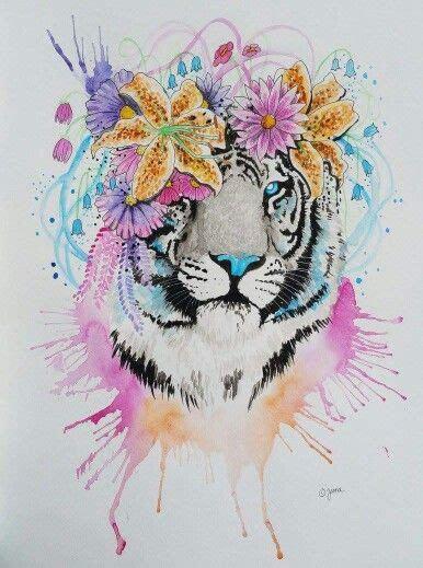 tiger  flower crown flower crown drawing lilies