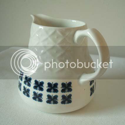 alfred meakin vintage ceramic blue flower milk jug