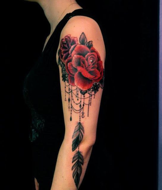Red Rose Feather And Lace Tattoo On Arm Tattoomagz