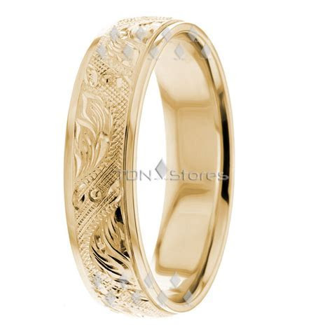 14K Yellow Gold Mens Womens Vintage Hand Carved Wedding